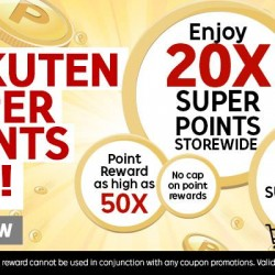 Rakuten: Super Points Day --- Super Points Day! Hip, hip, hoo-ray! Enjoy 20X Super Points Store-wide today (20X Points = 20% Rebate)