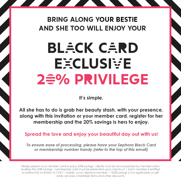Sephora Singapore: Private Sale 20% OFF for Black Card Members 21 ...