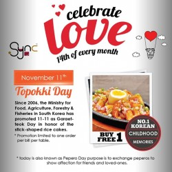 Sync Korean Fusion Bistro: Topokki Korean snack food @Buy 1 Free 1.
