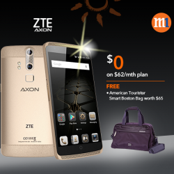 M1: ZTE AXON's @$0 On The $62/mth Plan-- Receive Free American Tourister Smart Boston Bag worth $65