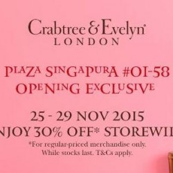 Crabtree & Evelyn: 30% off at Plaza Singapura Store & up to 20% off at all stores with UOB cards