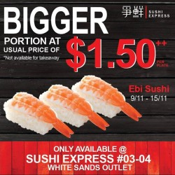 Sushi Express: BIGGER Portion at Usual Price of $1.50