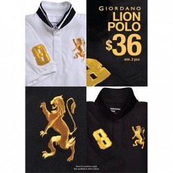 Giordano: Lion Polo in Gold Embroidery @$36 Min 2Pcs.