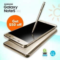 M1: Samsung Galaxy Note 5 4G+ with any 2-year mobile plan @Get $50 OFF.