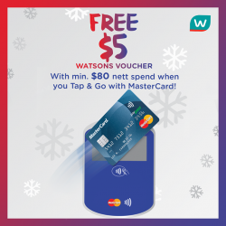 Watsons: Get FREE $5 Watsons Voucher With Min @$80 Nett Spend.