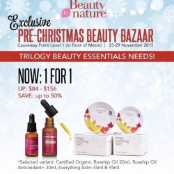 Beauty By Nature: Certified Organic Rosehip Oil 20ml, Rosehip Oil Antioxidant+ 30ml, Everything Balm 45ml & 95ml--Buy 1 Free 1