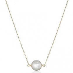"""Amazon: 14k Yellow Gold Chain with 8-8.5mm White Round Akoya Cultured Pearl Pendant Necklace, 18""""."""