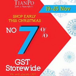 TianPo Jewellery: Early Chistmas Sale -- 7% OFF includes 916/999 Gold Jewellery.