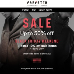Farfetch: Up to 50% off SALE + extra 10% off sale items