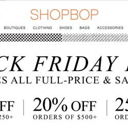 Shopbop up to 25% OFF coupon code for Black Friday