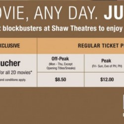 NTUC: Enjoy greater savings with $8 movie vouchers at Shaw Theatres