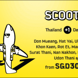 FlyScoot: +1 Flash Sale to Thailand from SGD30 onwards