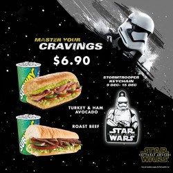 Subway: Roast Beef or Turkey and Ham Avocado combo @$6.90 each