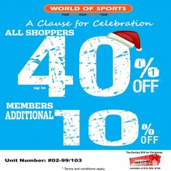 World of Sports: All Shoppers Enjoy 40% OFF, Members Enjoy 10% more