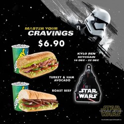 Subway: Kylo Ren Keychain with Every Purchase of a Star Wars Combo