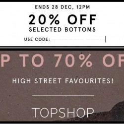 Zalora: 20% OFF Mens' Selected Bottoms + Up to 70% OFF Topshop