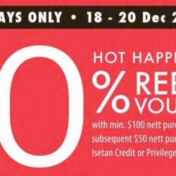 Isetan: 10% Rebate Voucher for Cardmembers at All Stores