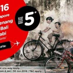 AirAsia: 2016 Fares on Sale from $5 onwards!
