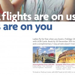 UOB Cards: Ladies fly for FREE with Trafalgar 2016 Summer Holiday to Europe