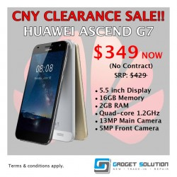 Gadget Solution: CNY Clearance SALE Huawei Ascend G7 @$349
