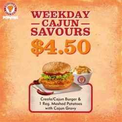 Popeyes: Creole/Cajun burger and mashed potatoes @ $4.50