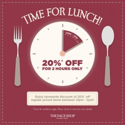 THEFACESHOP: 20% OFF Lunch Hour Special