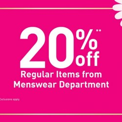 BHG: 20% OFF Regular Items from Menswear Department