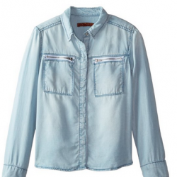 Amazon: 7 For All Mankind Big Girls' Zipper Pocket Slim Boyfriend Chambray Shirt