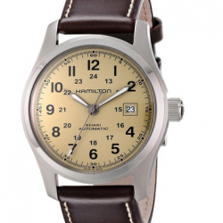 "Amazon: Hamilton Men's H70555523 ""Khaki Field"" Stainless Steel Watch with Brown Leather Band"
