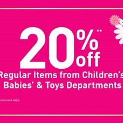 BHG: Regular items from Children's, Babies' & Toys department @20% OFF