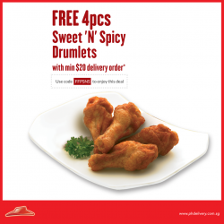 Pizza Hut: Free 4pcs Sweet 'N' Spicy Drumlets with min. $20 Delivery Order