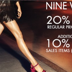 Nine West: 20% on regular priced items / additional 10% on sale items with DBS Cards