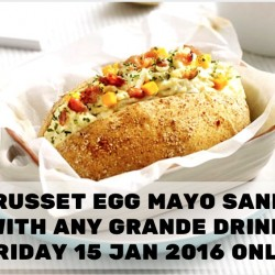 Starbucks: Free Russet Egg Mayo Sandwich Free with any Grande Drink