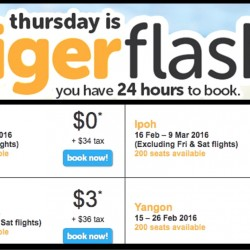 Tigerair: 24HR Flash Sale to Penang, Phuket, Ipoh & Yangon from $34