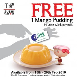 Sushi Express: Free Mango Pudding with EZlink Payment at Sushi TakeOut