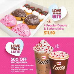 Dunkin Donuts: $11.50 deal (4 regular donuts and 8 munchkins) or get 50% off your second drink