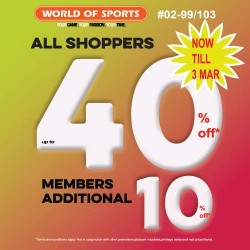 World of Sports: Up to 40% OFF + Additional 10% OFF for Members