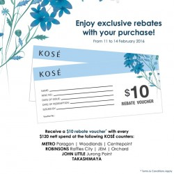 KOSÉ: $10 Rebate Voucher with every $120 nett Spent
