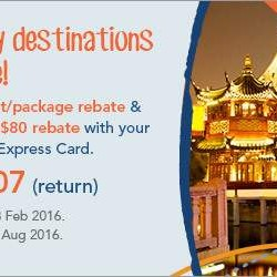 Zuji: 9 Destinations on Sale + 5% Flight/Package Rebate & $80 Rebate with Amex Cards
