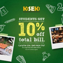 Kiseki Japanese Buffet Restaurant: Student Special Promotion --- 10% OFF