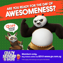 Golden Village: Crazy Monday Movie Ticket Sale --- S$2 OFF Online Ticket Purchase