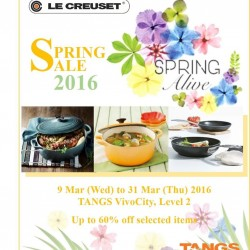 Le Creuset Singapore: Up to 60% OFF Spring Sale @ pop-up area @ Tangs VivoCity Level 2