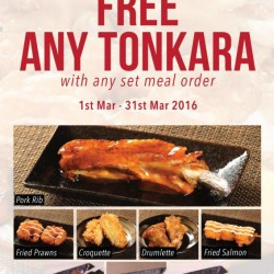 Ginza Bairin: FREE ANY TONKARA with any Set Meal Order for Members