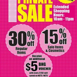 BHG @ Bugis: One Day Private Sale --- 30% off regular & 15% off sale & cosmetics items