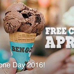 Ben & Jerry's: Free Cone Day on 12 April 2016 @313@Somerset, VivoCity and Dempsey