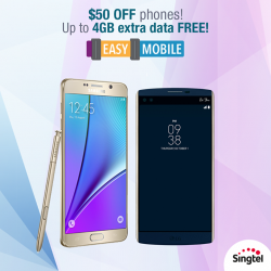 Singtel: Easy Mobile Latest Promotion on March 2016 --- Get up to 4GB extra data FREE for 24 months Plus, $50 OFF a wide range of phones