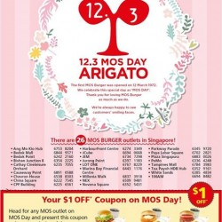 MOS Burger: Birthday Special Promotion --- Redeem the S$1.00 OFF Saving Coupons