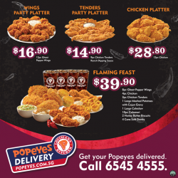 Popeyes Louisiana Kitchen Singapore:  Online Delivery Deals