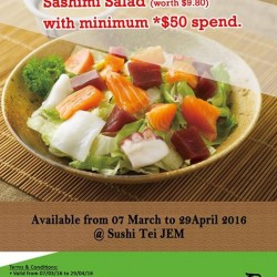 Sushi Tei @ Jem: FREE Sashimi Salad with min *$50 spend