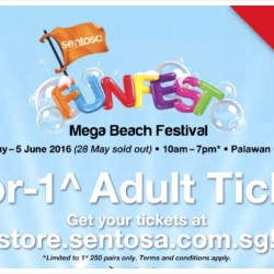 Sentosa FunFest 2016: 1-for-1 Sentosa's Mega Beach Festival Adult Ticket